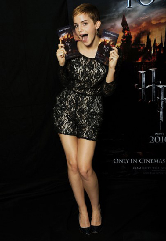 emma watson short hair black lace dress harry potter promo pic
