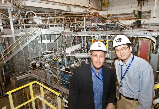 Jon Menard (left) and Masa Ono at the NSTX.   (Photo Elle Starkman, PPPL