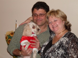 daisy, harry, linda randall christmas photo dec 2010 my hubby and pet photo