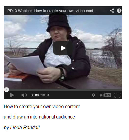 PROMODAY 2013 #PD13 free writers webinar How to Create Your Own Video Content and Draw and International Audience by Linda Randall (the idea girl says)