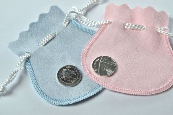 Silver-penny-coin royal baby kate middleton prince william duke duchess of cambridge UK pink blue  pouch