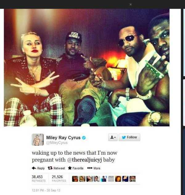 Miley Cyrus Not Pregnant By Juicy J - Bossip tweets sept 30 2013