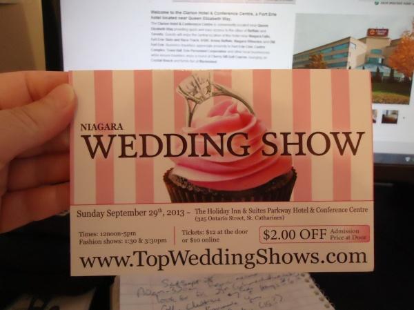 Niagara Wedding Show 2$ Coupon Post Card top wedding shows.com sun sept 29 2013 st catharines photo linda randall