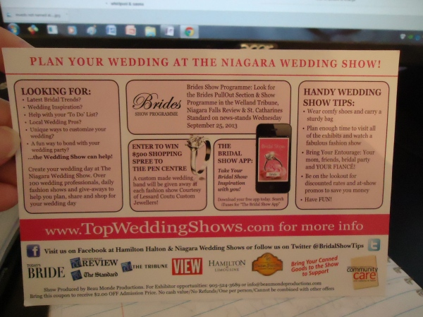 niagara wedding show back post card view top wedding shows.com st catharines 29 sept 2013 photo linda randall
