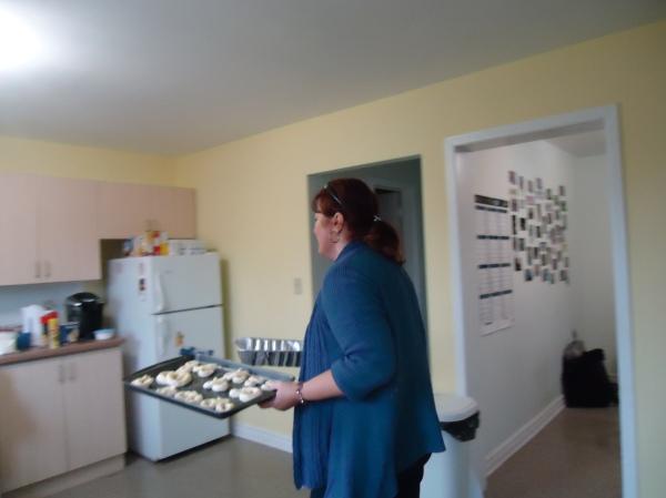 debbie facilitator community house women's group baking pretzels 21 nov 2013