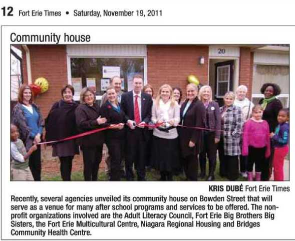Fort Erie Times Nov 19 - 2011 Kris Dube article Community House Bowden St Adult Literacy council Big Brothers Sisters FE Multicultural Centre Niagara Regional Housing Bridges Health Centre