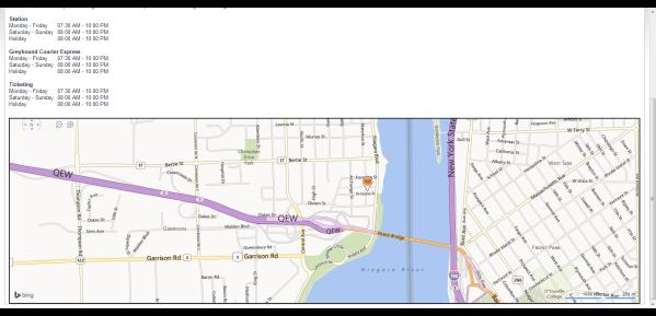 Greyhound.ca  map robo mart princess st niagara parkway food drink washrooms  Fort Erie, ontario canada  peace bridge buffalo ny usa