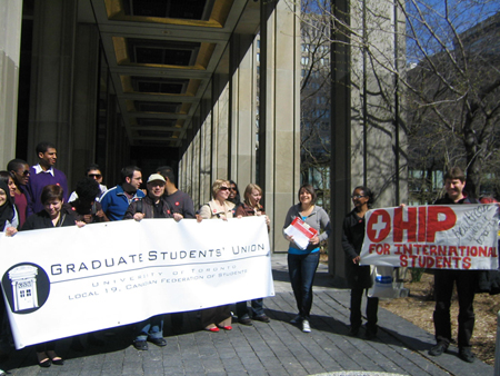 OHIP is wanted by international students in canada so they rally and ask for it