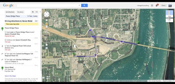 Peace Bridge Plaza to Haven Motel 215 Garrison Rd Fort Erie Ontario Canada Google Maps (905) 871-2171