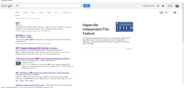 NIFF - Google Search blogging NIFF with it's blog link brought it up to page 1 linda randall