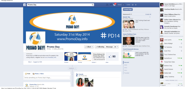 Promo Day  Facebook Event #PD14 Sat 31 May 2014 linda randall Jo Linsdell blogging marketing the idea girl says feb 2014