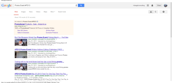 Promo Event #PD13 - Google Search notice youtube videos come up first - marketing for page 1 linda randall