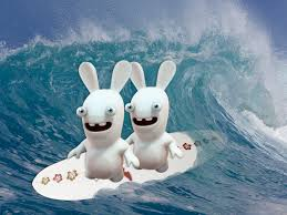 rabbids invasion cartoon YTV saturdays 830 am est funny hysterical laughs the idea girl says family entertainment feb 2014 surf board ocean scene