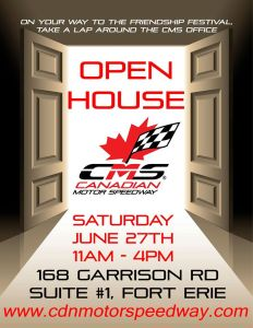 canadian motor speedway 168 garrison rd suite #1 fort erie ontario Canada (peace bridge buffalo NY USA) open house sat 27 june 2015 11 am - 4 pm