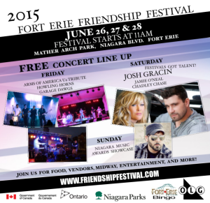 free live country music artists saturday 27 june 2015 josh gracin (american idol) jamie oneal chadley chase festivals got talent stars idea girl canada fort erie friendship festival 2015